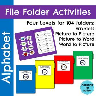 Get these alphabet file folder activities in your special education classroom and meet the needs of all of your students! Created for students with autism, there are four differentiated levels ranging from errorless to matching to reading.