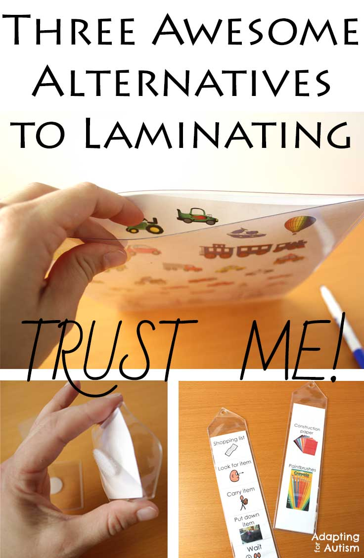 Three awesome alternatives to laminating in your special education classroom. You can save time, save money and save the Earth. I've put these through the wringer in my autism classroom. Trust me!