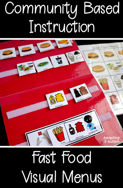 Community based instruction - fast food restaurant visual menu