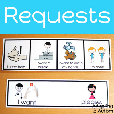 Communication request cards for students with autism to use in art class.