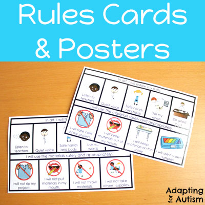 Rules cards and posters for art class.
