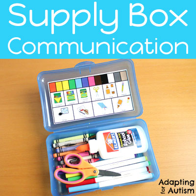 Mini communication board for art supply boxes.
