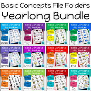 Basic Concepts File Folder Activities for Special Education and Autism