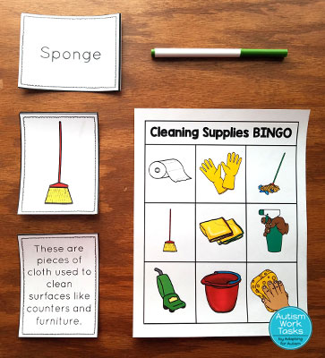 Cleaning supplies bingo cards