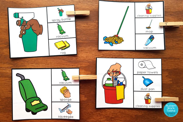 Four cleaning supplies picture match clip cards