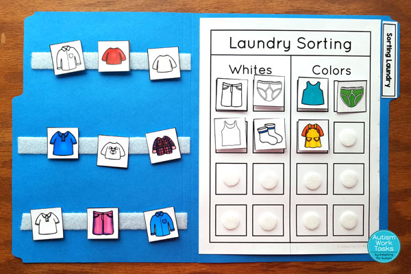 Laundry sorting file folder - sorting whites and colors