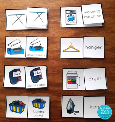 Picture to picture and picture to word match task boxes for laundry supplies