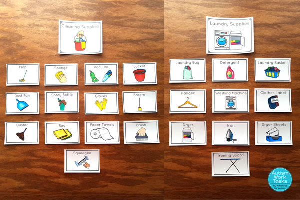 Cleaning supplies and laundry supplies word wall cards