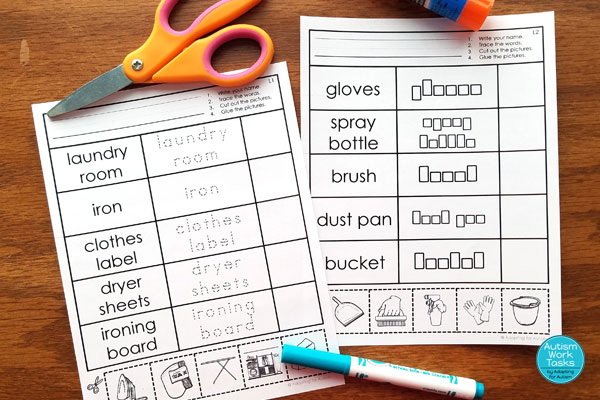 Two cut and paste worksheets with cleaning supplies and laundry terms and pictures