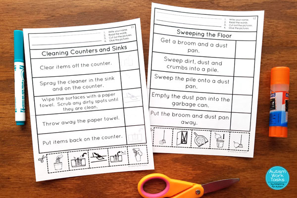 Two cut and paste worksheets with sequencing for cleaning counters and sinks and sweeping the floor
