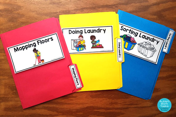 Three file folder activities - mopping floors, doing laundry, sorting laundry
