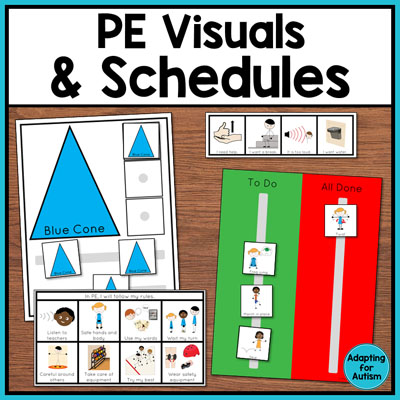 Physical education class (PE Class) visuals, schedules and routines - Shop at autismworktasks.com