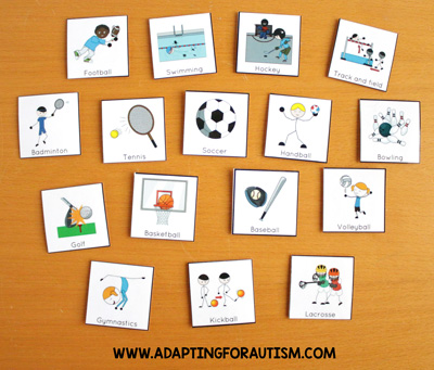 Physical education class (PE Class) visuals, schedules and routines - Sports icons