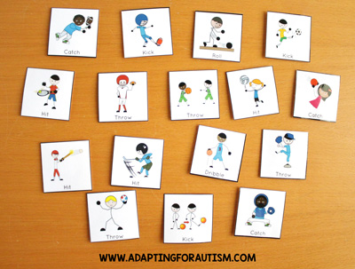 Physical education class (PE Class) visuals, schedules and routines - Sport skills cards