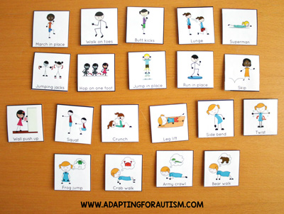 Physical education class (PE Class) visuals, schedules and routines - Warm ups/fitness cards