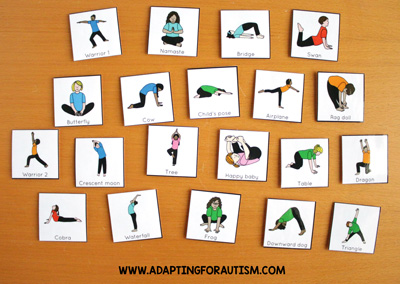 Physical education class (PE Class) visuals, schedules and routines - Yoga cards