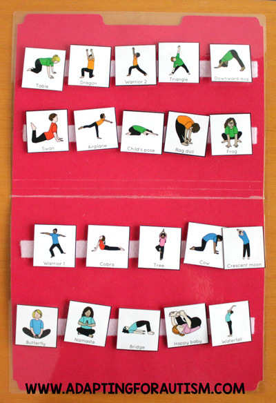 Physical education class (PE Class) visuals, schedules and routines - Yoga routine choice board