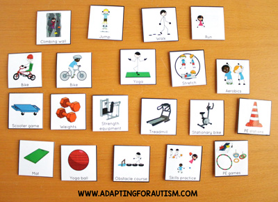 Physical education class (PE Class) visuals, schedules and routines - Fitness equipment cards