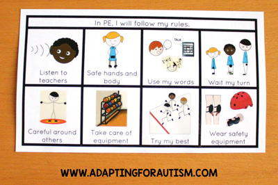 Physical education class (PE Class) visuals, schedules and routines - Mini Rules Card