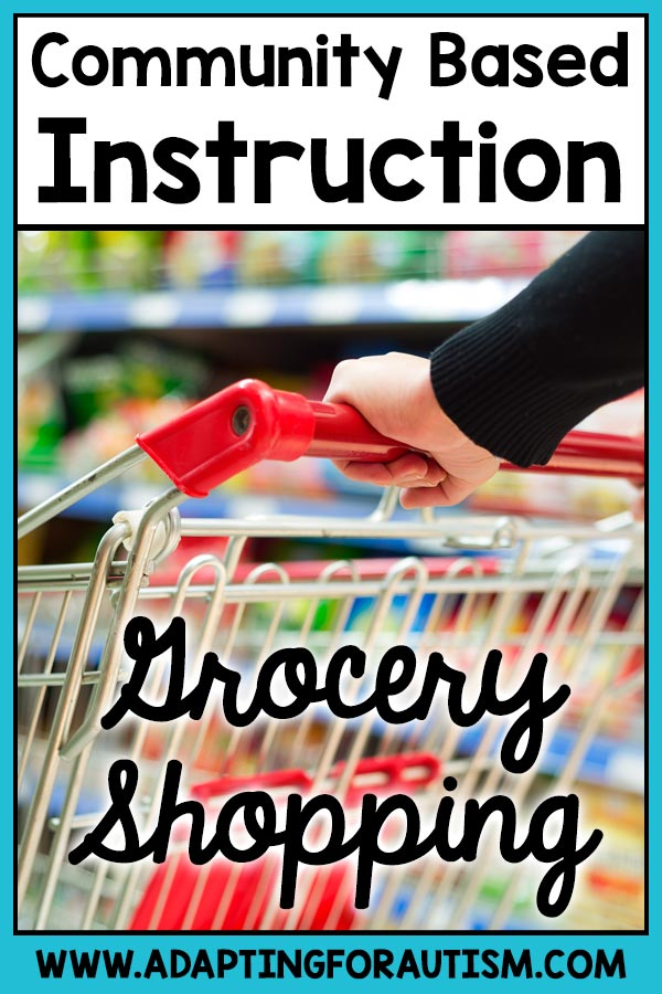 Community based instruction: Grocery shopping | picture of hand holding grocery cart