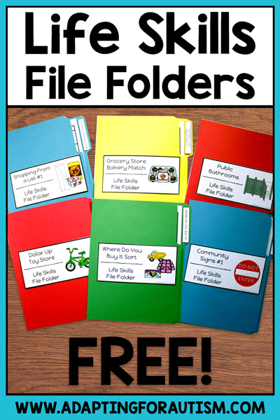 Life skills file folders for special education | Adapting for Autism