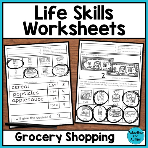Grocery store worksheets for life skills classrooms | Adapting for Autism
