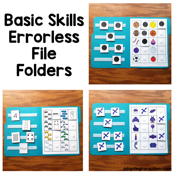 Pictures of 3 special education file folder activities to practice shapes, number recognition and colors. Text: Basic skills errorless file folders