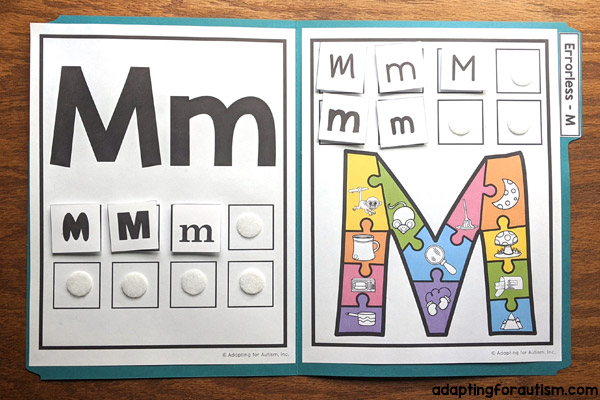 Photo of 1 special education errorless file folder with the letter M and pictures that start with the letter M.