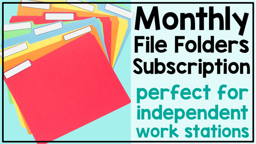 Text: Monthly file folders subscription perfect for independent work tasks Photo: several blank file folders spread out on blue background