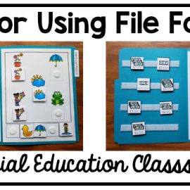 Text: tips for using file folders in special education classrooms Photo: two matching file folder activities