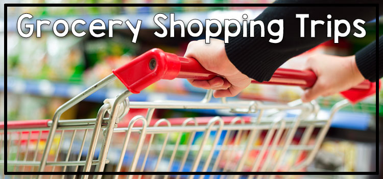 Tips for community based instruction - grocery shopping. Photo: hands pushing shopping cart