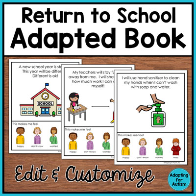 Text: Return to school adapted book edit and customize Photo: three white pieces of paper with hand sanitizer, a student at a desk and a school.