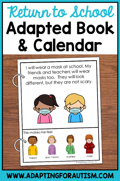 Text: return to school adapted book and calendar Photo: two clipart children wearing masks. four clipart people below with a range of facial expressions