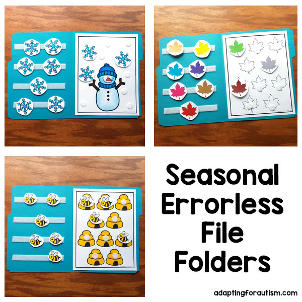 Pictures of 3 special education seasonal file folder activities to practice task routine and 1:1 correspondence | Text: Seasonal errorless file folders